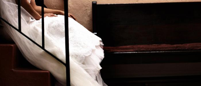 novia, espera, vestido