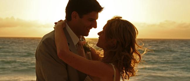 magia, pareja, novios, atardecer, mar, playa, postboda