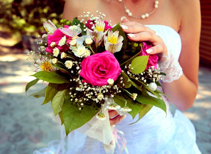 bouquet, flores, rosas, novia, matrimonio