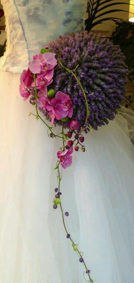 ramo, lavanda, orquidea, lila, rosa, cascada