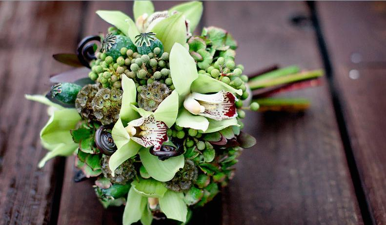 ramo original, verde, diferente, alternativo, novia