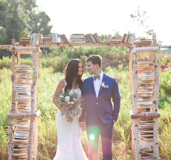 libros, tematica, boda, altar, ceremonia, parejas, boda, novios