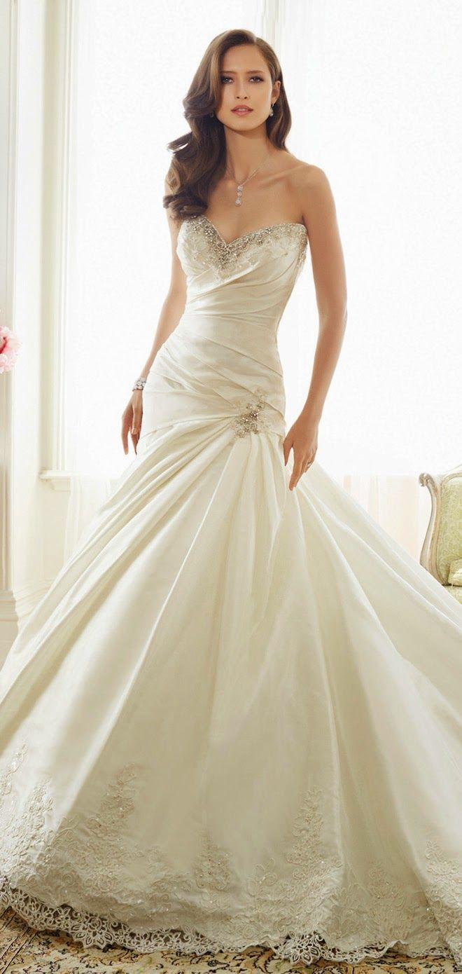 Sophia Tolli, vestido, novia, escote corazon, sirena, princesa, gasa, organza, organdí, elegancia, sutileza, coleccion 2015