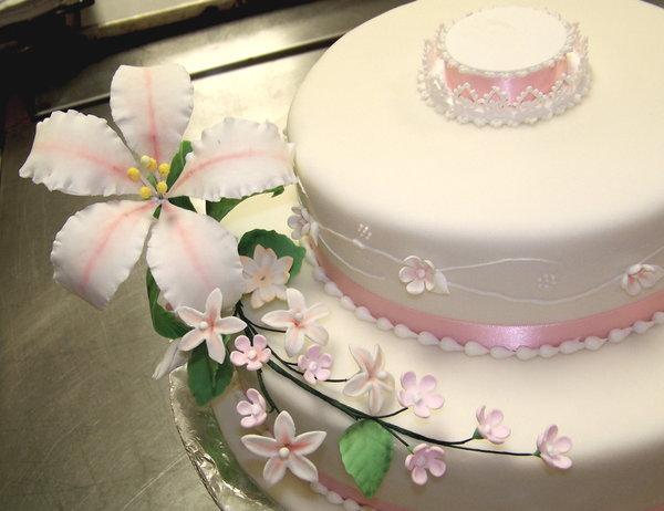 flores, tarta, fondant, delicadeza, pastel, celebracion, convite, bizcocho