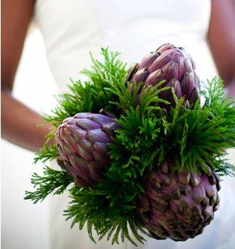 ramo, novia, bouquet, diferente, original, alcachofa