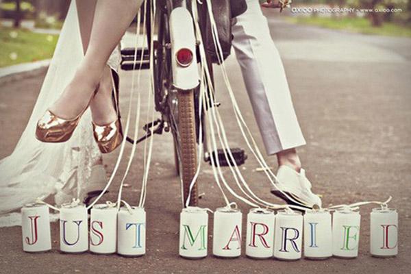 vintage, tematicas, boda, latas, bicicletas, novios