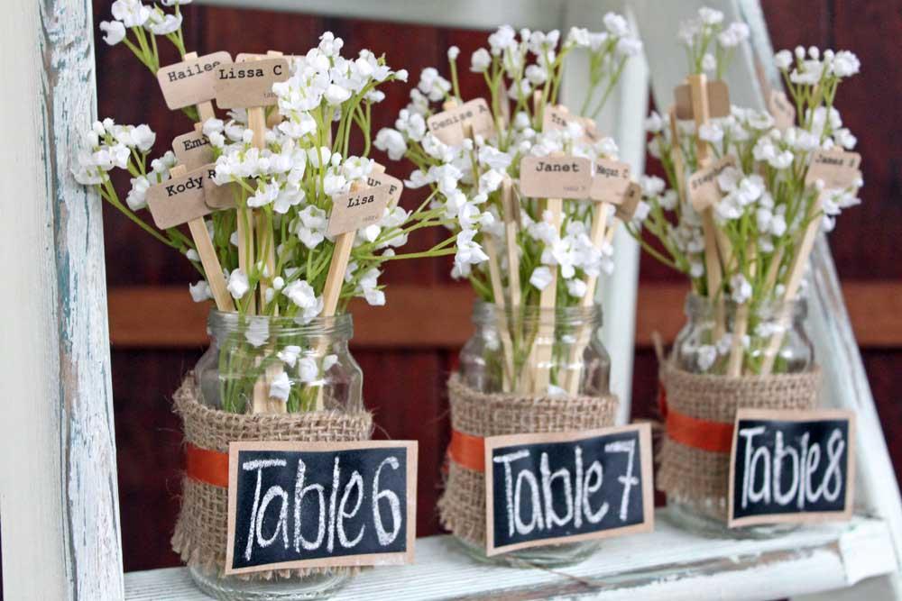 tarros, reciclaje, seating plan, organizacion mesas, invitadis, paniculata