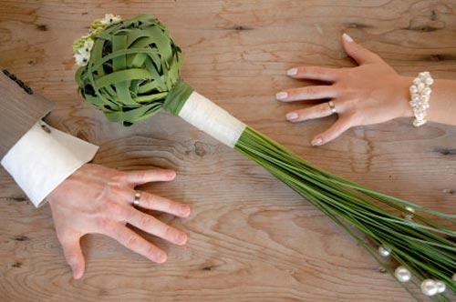 ramo, novia, trenzado, tallos largos, tallos al aire