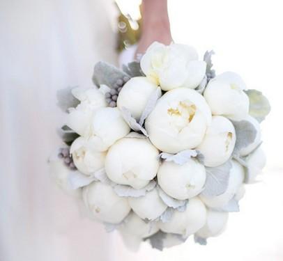 ramo, bouquet, peonias, grises