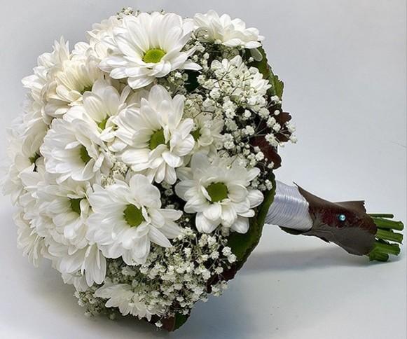 ramo, novia, bouquet, margaritas, sencillo, barato