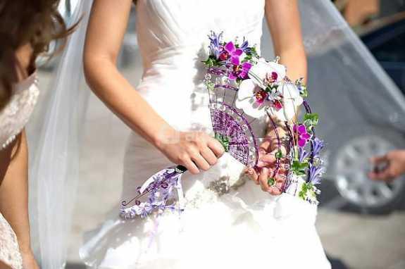 ramo, novia, original, abanico, flores, alegria