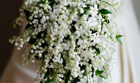 ramo, cascada, blanco, novia, pureza, clasico