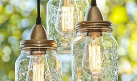 DIY, manualidades, lamparas, recilaje, lamparas cristal, tarros crital, ceremonia, decoración, jardín, salon, convite, boda tarde, boda noche, chill out