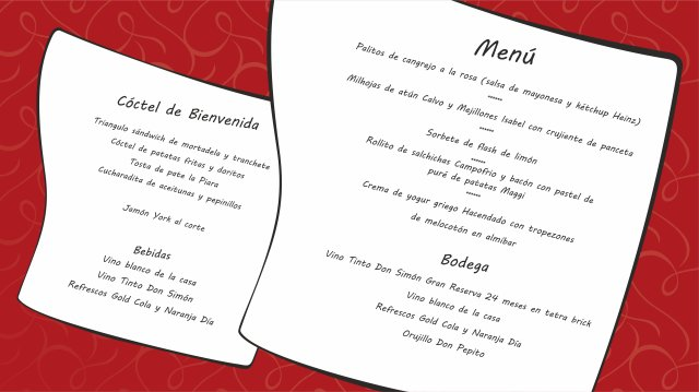 menu broma, menu falso, menu boda, broma convite, broma boda, novios, sorpresa invitados, risas, diversión boda,
