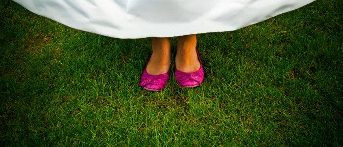 novia, zapatos, fucsia, bailarinas
